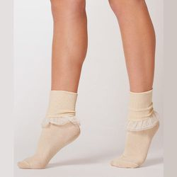 """<strong>American Apparel</strong> Girly Lace Ankle Sock, <a href="""" http://store.americanapparel.net/product/?productId=rsaskrl"""">$12</a>"""