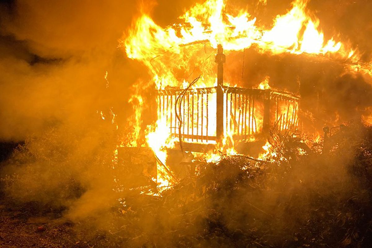 A house burns in south suburban Blue Island Oct. 5, 2019.