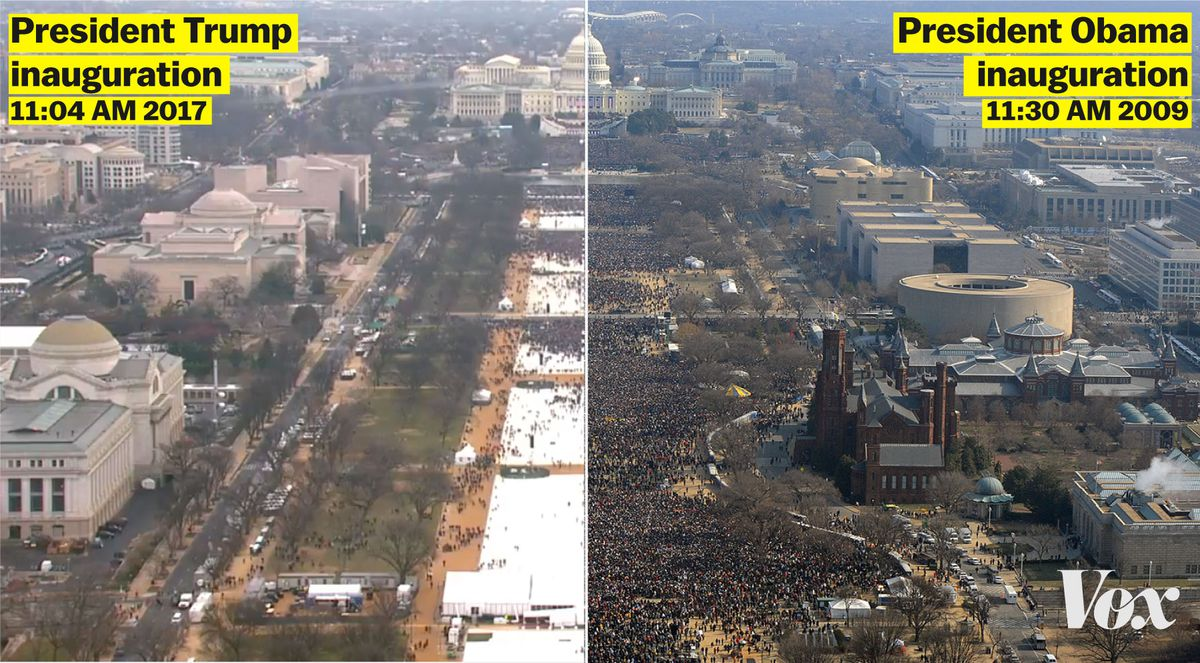 Side-by-side photo showing attendance at Obama's 2009 inauguration and Trump's 2017 inauguration