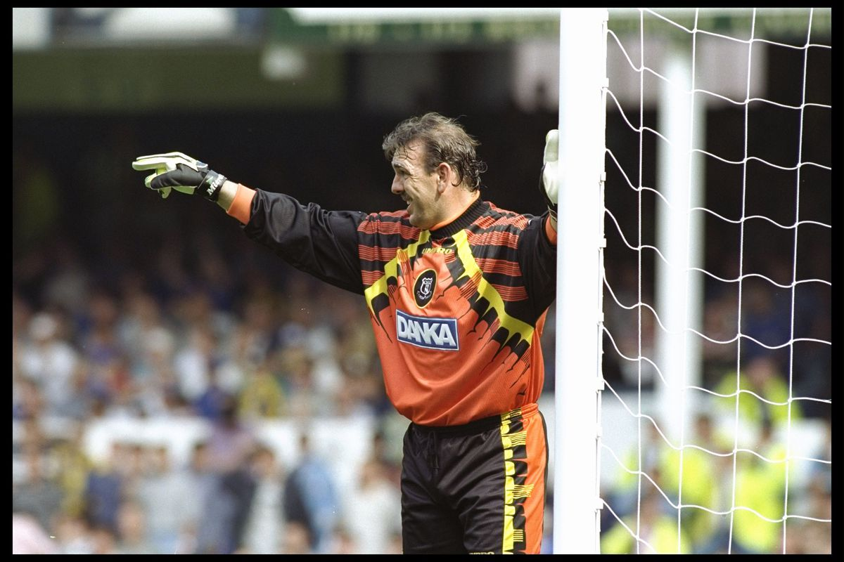 Neville Southall of Everton makes a point
