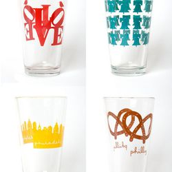 """<a href=""""http://weheartphilly.bigcartel.com/product/philly-glasses"""">Philly Drinking Glasses</a>, $12 each at Midtown's Open House"""