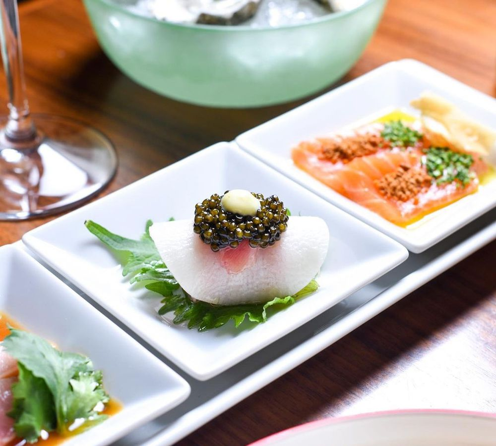 A simple plating of sushi dishess