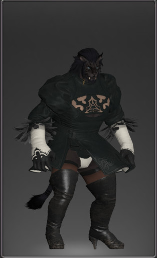 A black Hrothgar dresses like 2B in Final Fantasy 14