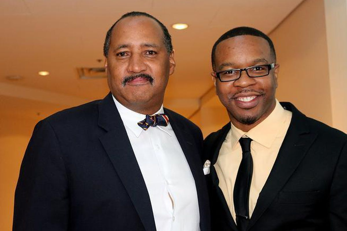 Eddie Koen (right) with Kevin Marchman of the National Organization of African-Americans in Housing, in 2015 (Denver Post photo).