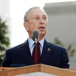 In this Sept. 11, 2011 file photo, New York Mayor Michael Bloomberg speaks during a ceremony marking the 10th anniversary of the attacks on the world Trade Center at the National September 11 Memorial in New York. For the first time, elected officials won?t be allowed to speak Tuesday, Sept. 11, 2012, at  an occasion that has allowed them a solemn turn in the spotlight, a change made in the name of avoiding politics, but rapped by some as a political move in itself.