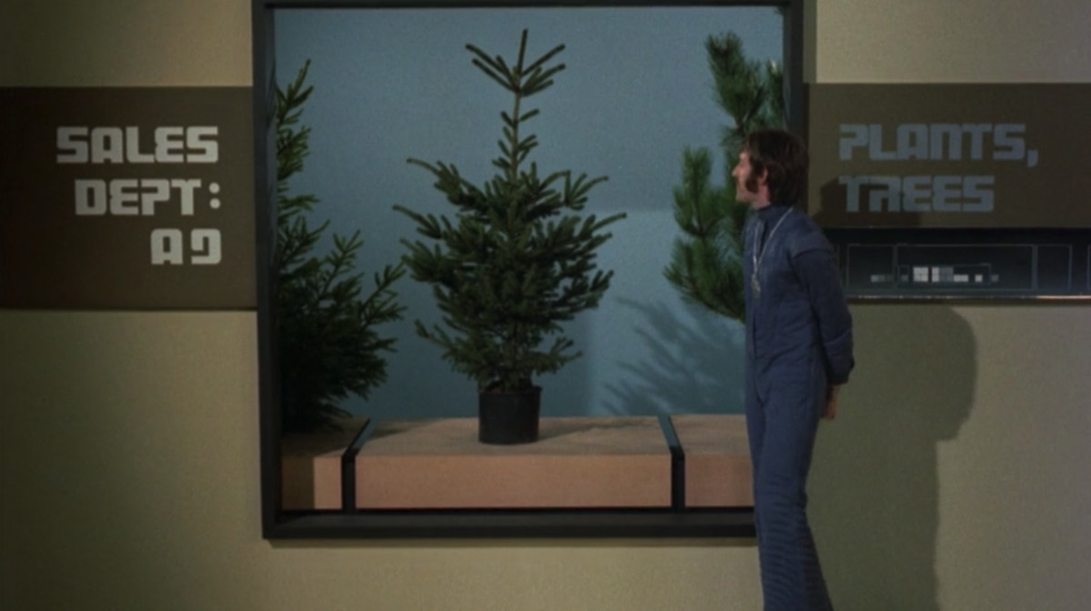 A man in a navy-blue jumpsuit looks at a stubby pine tree in a 20th-century museum in ZPG