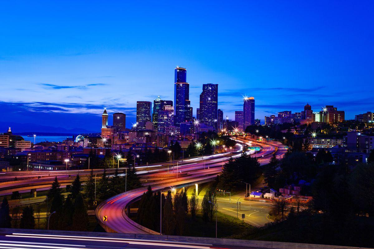 The Seattle skyline at dusk.