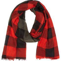 """<b>Rag & Bone</b> scarf, <a href=""""https://www.ssense.com/women/product/rag_and_bone/olive-red-wool-buffalo-check-scarf/113631"""">$122</a>"""