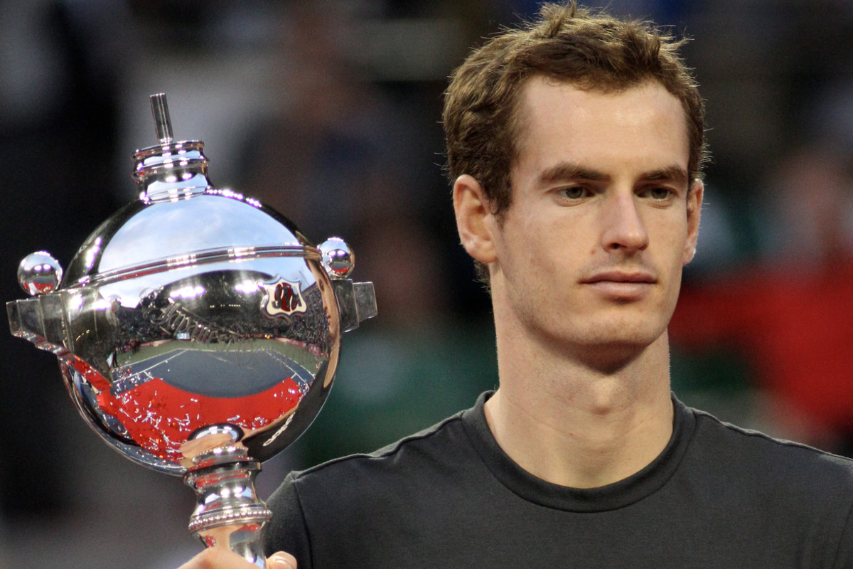 Andy Murray with the trophy at the 2011 Japan Open in Tokyo