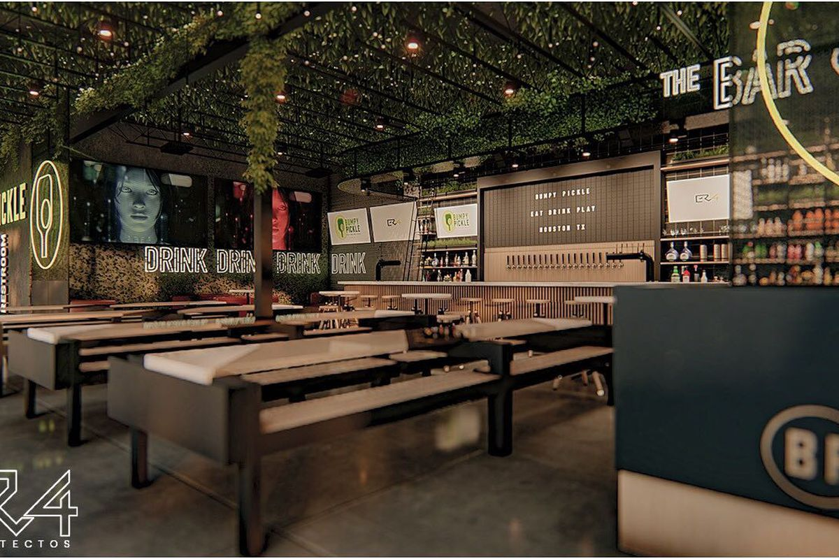 architectural renderings of the inside of a sports bar, with industrial furniture and a vine-covered ceiling