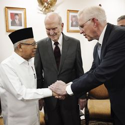President Russell M. Nelson of The Church of Jesus Christ of Latter-day Saints meets withMa'ruf Amin, vice president of Indonesia, in Jakarta, Indonesia, on Nov. 21, 2019.