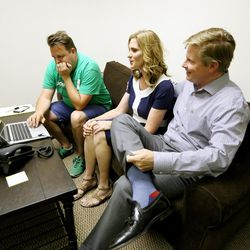 Jonathan Johnson sits with his wife, Courtney, and field staff member Ivan Dubois at his campaign headquarters while waiting for voting results on Tuesday, June 28, 2016. Johnson lost his primary challenge to Gov. Gary Herbert.
