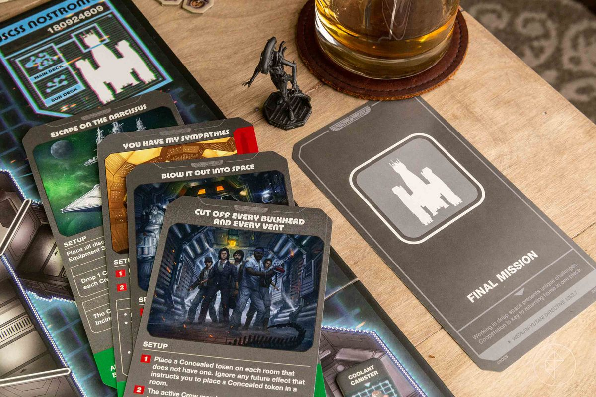 """Five final mission cards. One says """"You have my sympathies,"""" while another reads """"blow it out into space."""""""