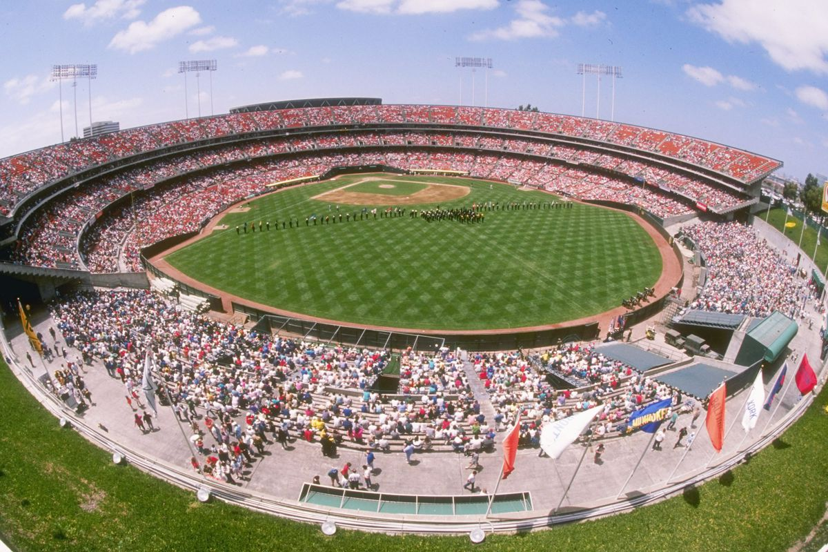 """The Oakland Coliseum as it appeared before """"Mt. Davis"""" was built in the outfield"""