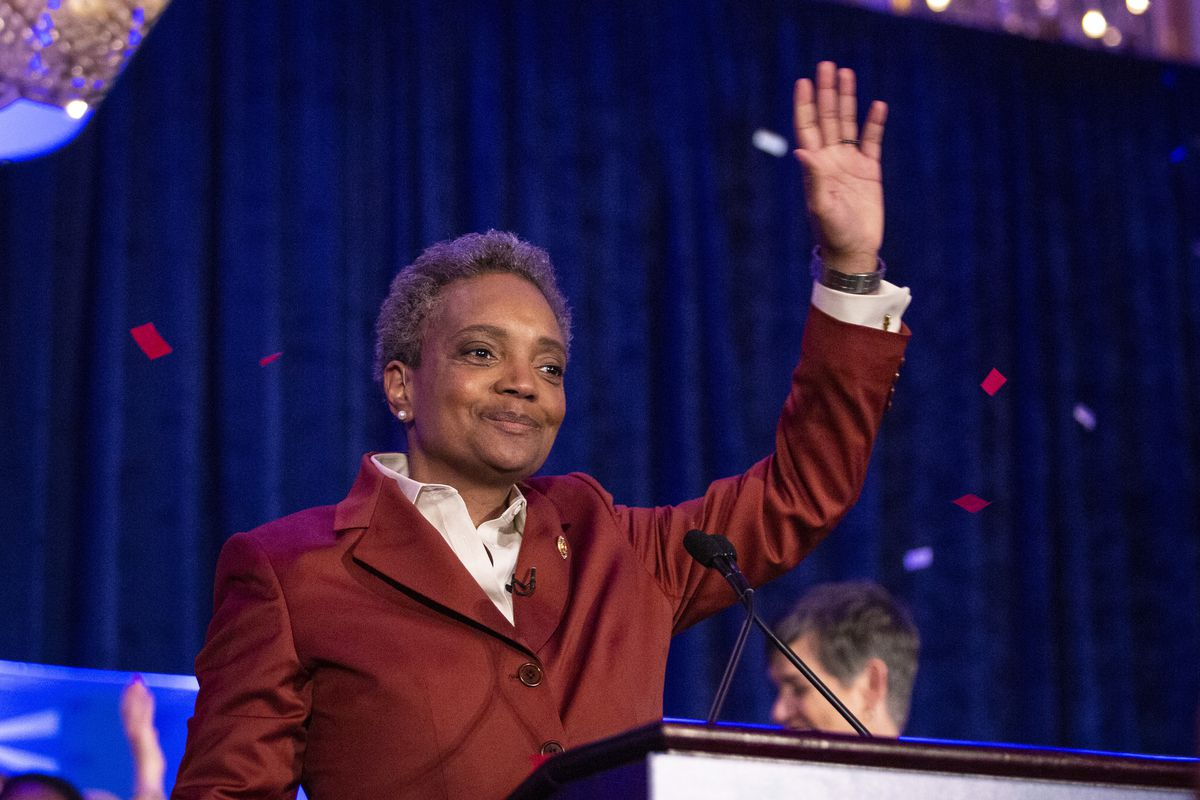 Mayor-elect Lori Lightfoot celebrates after defeating Toni Preckwinkle in the Chicago mayoral election on April 2, 2019.