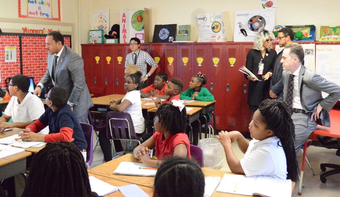 School officials from Washington, D.C., visit a classroom at Cherokee Elementary, one of the iZone's top-performing schools.