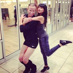 Racked LA editor Natalie Alcala goofing off with Jason post-workout.