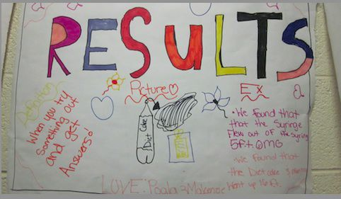 Students recorded results of a science experiment in a colorful poster in the hallway of GALS.
