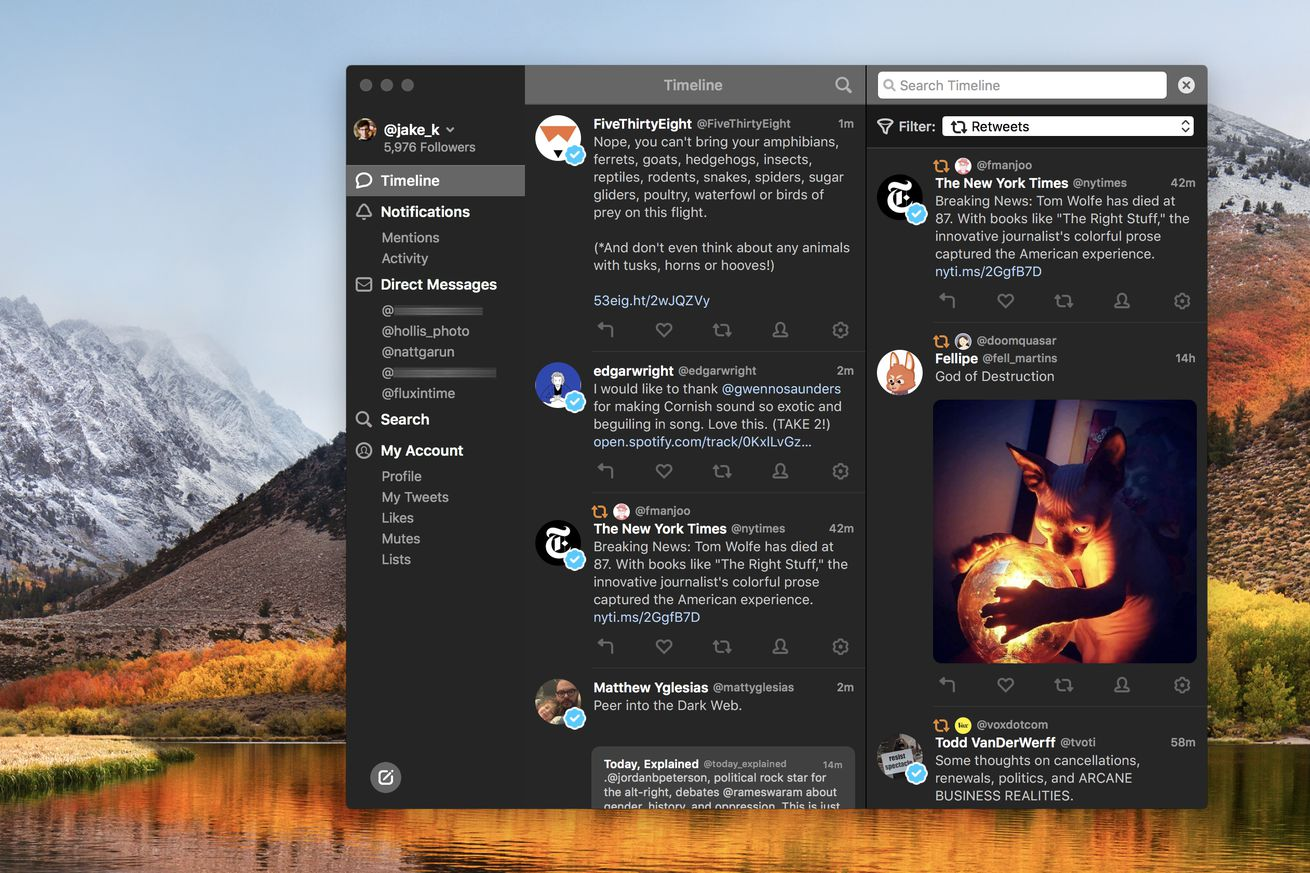 tweetbot 3 for mac adds a dark mode timeline filters and video previews