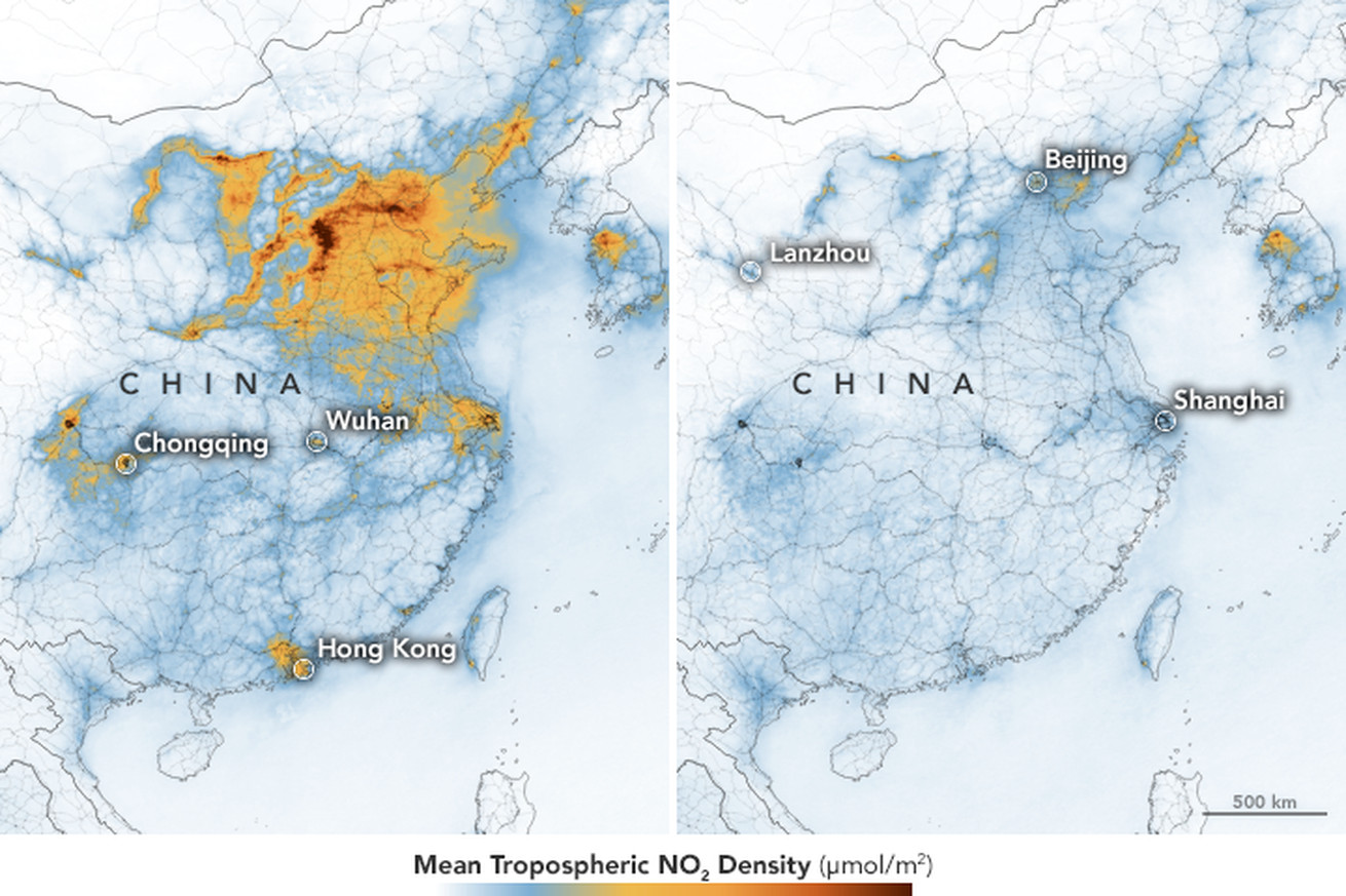 Image of article 'Maps show drastic drop in China's air pollution after coronavirus quarantine'