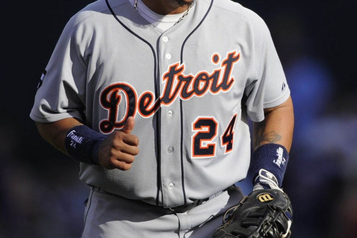 MINNEAPOLIS, MN - JULY 24: Miguel Cabrera #24 of the Detroit Tigers celebrates a win against the Minnesota Twins on July 24, 2011 at Target Field in Minneapolis, Minnesota. The Tigers defeated the Twins 5-2. (Photo by Hannah Foslien/Getty Images)