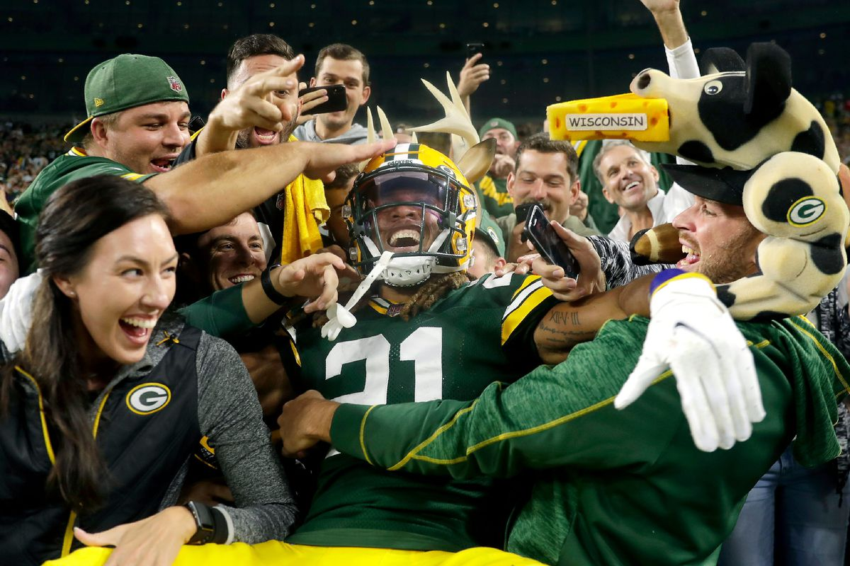 Green Bay Packers cornerback Eric Stokes (21) celebrates with a Lambeau Leap after a late fourth quarter interception against the Pittsburgh Steelers during their football game on Sunday, October 3, 2021, at Lambeau Field in Green Bay, Wis.