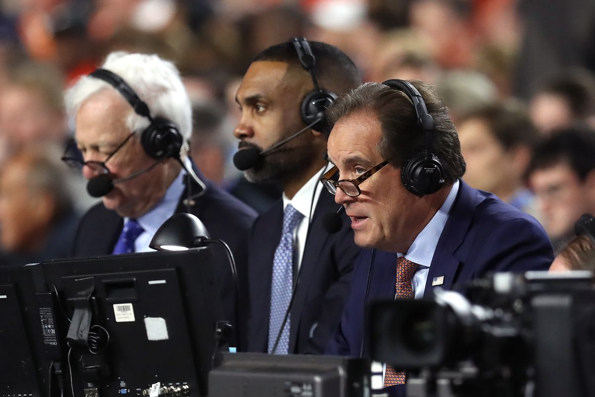 CBS commentators Bill Raftery, Grant Hill and Jim Nantz look on during the 2019 NCAA Final Four semifinal between the Auburn Tigers and the Virginia Cavaliers at U.S. Bank Stadium on April 6, 2019 in Minneapolis, Minnesota.