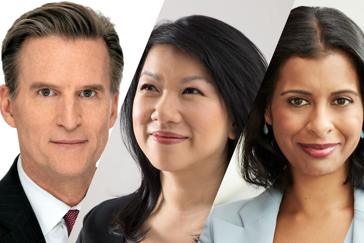 Headshots of Macy's CEO Jeff Gennette, Zola CEO Shan-Lyn Ma, and Crate and Barrel CEO Neela Montgomery