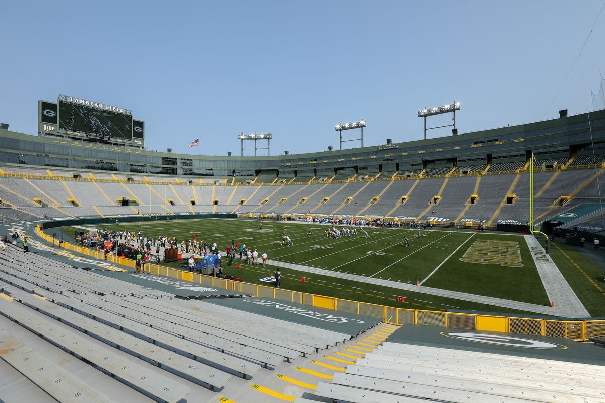 A general view during the game between the Detroit Lions and Green Bay Packers at Lambeau Field on September 20, 2020 in Green Bay, Wisconsin.