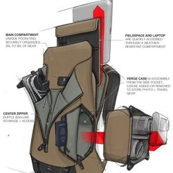A schematic showing the various components and accessories that make up the Prima System modular backpack. University of Utah student and serial entrepreneur Cavin Nicholson and his partners launched their new outdoor gear company, Boundary, with a Kickstarter campaign for the Prima System pack, their first product. Hoping to raise $60,000, the trio have brought in over $650,000 so far.