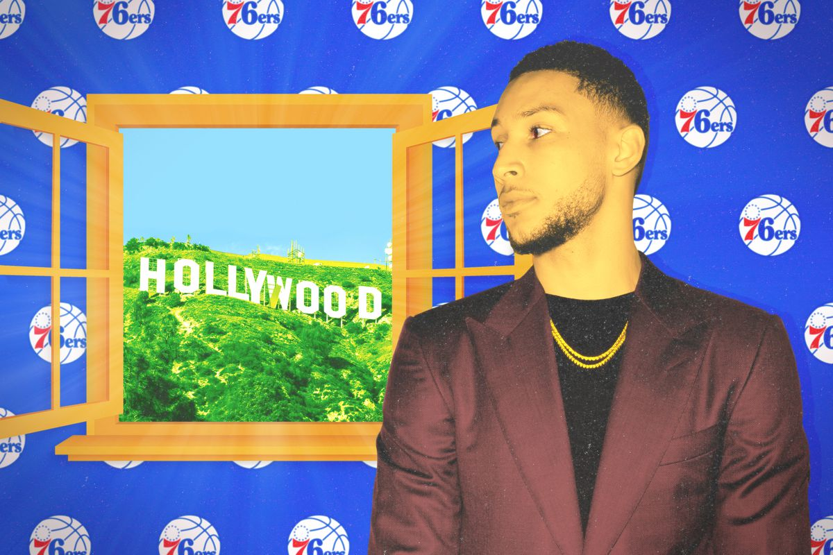 Ben Simmons looking out the window at Los Angeles
