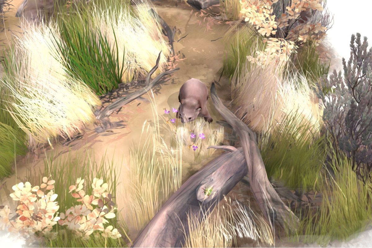 A wombat explores the Australian outback in a screenshot from Paperbark