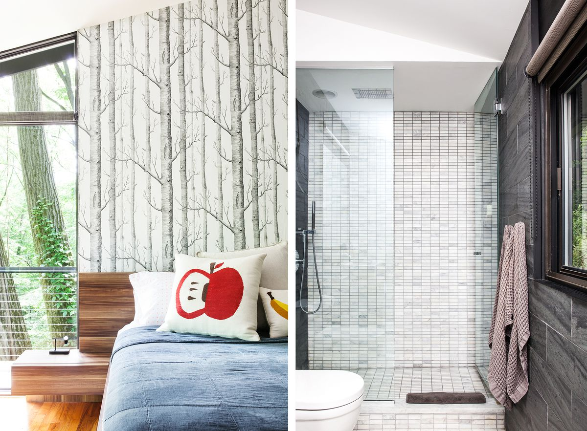 The master bedroom has wallpaper with a tree pattern, mimicking the scenes from outside. The master bathroom has the same tile on the floor and one wall of the shower.