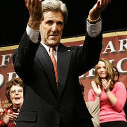 Sen. John Kerry, D-Mass., reacts to the crowd as he arrives to deliver a speech at the Kirby Center for the Performing Arts in Wilkes-Barre, Pa., Tuesday.