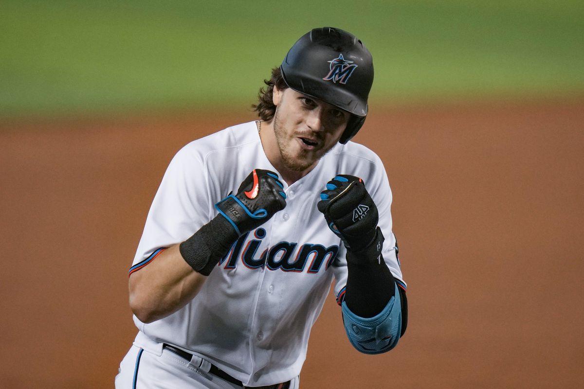 Brian Anderson of the Miami Marlins runs the bases after hitting a three-run home run