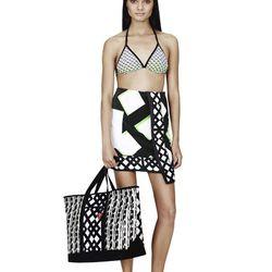 Triangle Bikini Top in Green Netting Print, $17.99**; Tote in Black/White Print, $39.99**; Beach Towel in Green Netting Print, $24.99**;Slip-On Shoe in Black/White Print, $29.99**