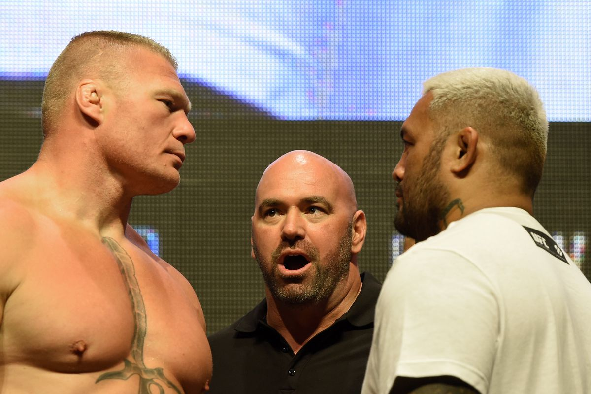 Mark Hunt and Brock Lesnar face-off ahead of UFC 200 in 2016.