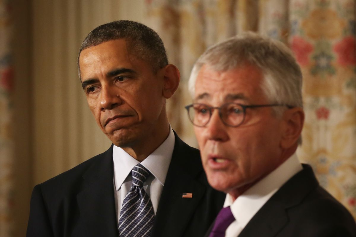 President Obama and Chuck Hagel announce the latter's retirement
