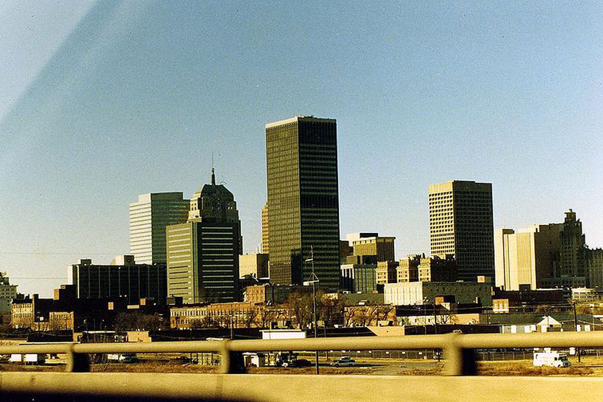 """Downtown Oklahoma City welcomes the Barons on October 9th.  Photo by Phillip Capper via <a href=""""http://commons.wikimedia.org/wiki/File:Oklahoma_City.jpg"""" target=""""new"""">Wikimedia Commons</a>"""