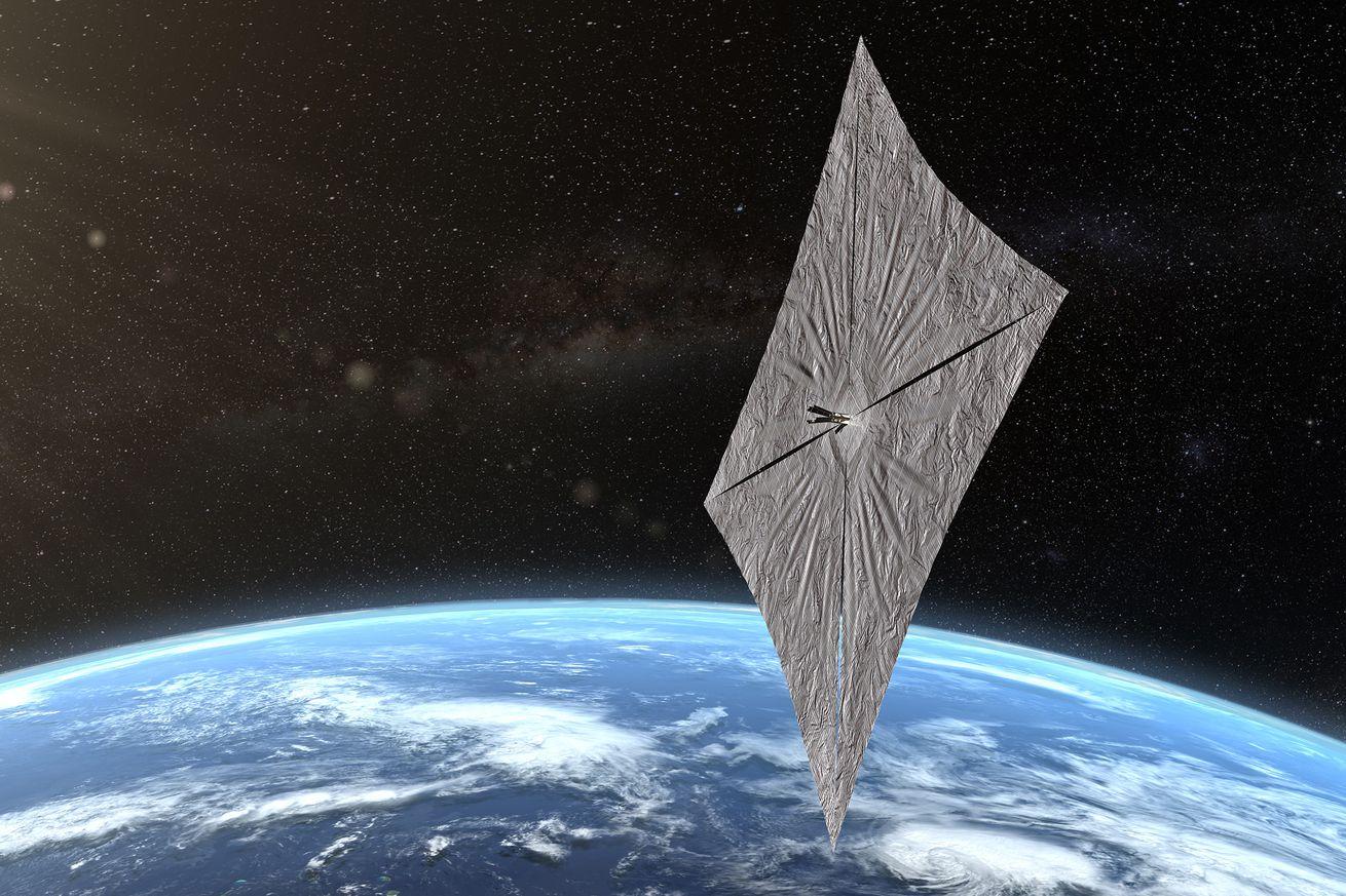 An artist's impression of Light Sail 2 in orbit