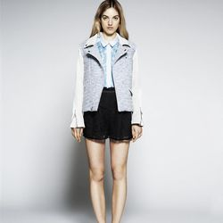 Tweed + leather Moto jacket, $645
