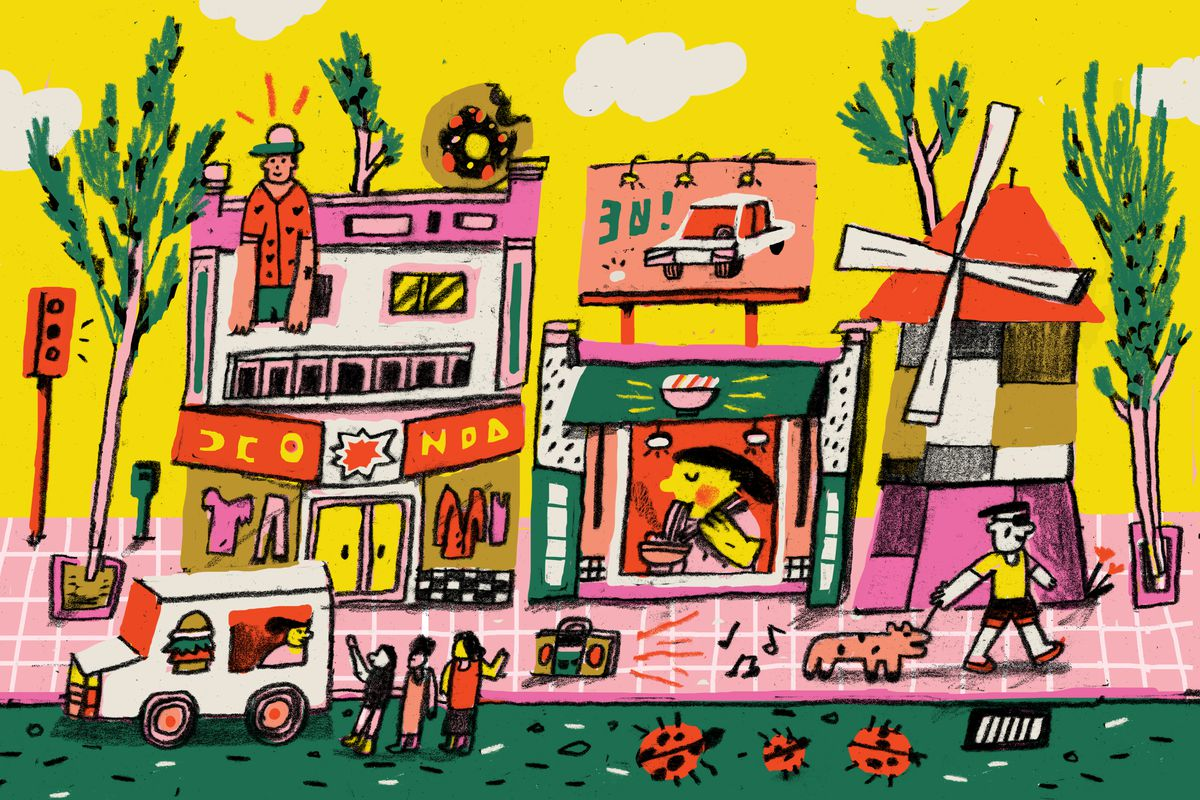 A whimsical city scene of a windmill, ramen shop, food truck and clothing store.