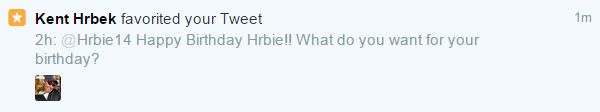 Kent Hrbek Faved my Tweets