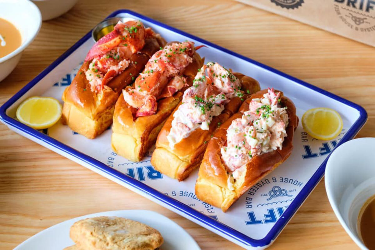 Four lobster rolls from Drift Fish House and Oyster Bar in Marietta, GA