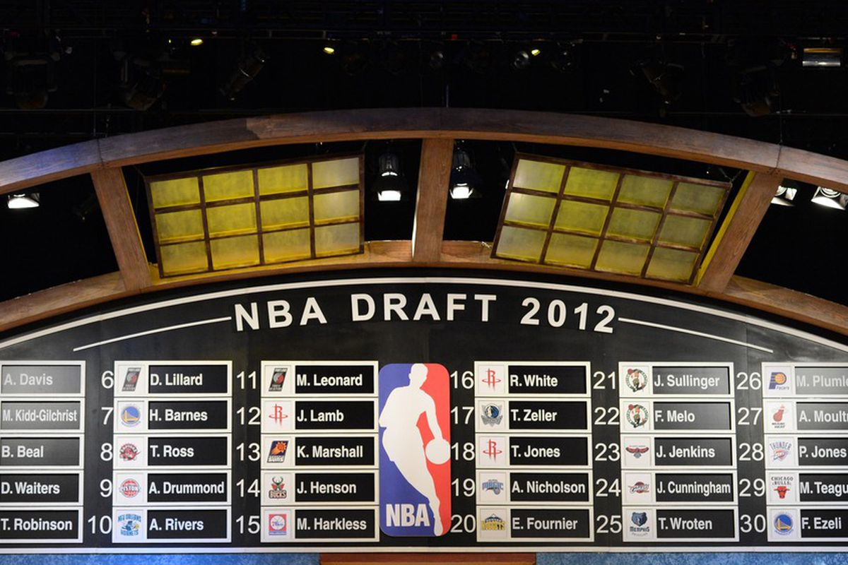 June 28, 2012; Newark, NJ, USA; A general view of the first round draft board at the conclusion of the first round of the 2012 NBA Draft at the Prudential Center.  Mandatory Credit: Jerry Lai-US PRESSWIRE