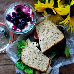 This hearty vegetarian sandwich and berry delight makes a delicious meal.