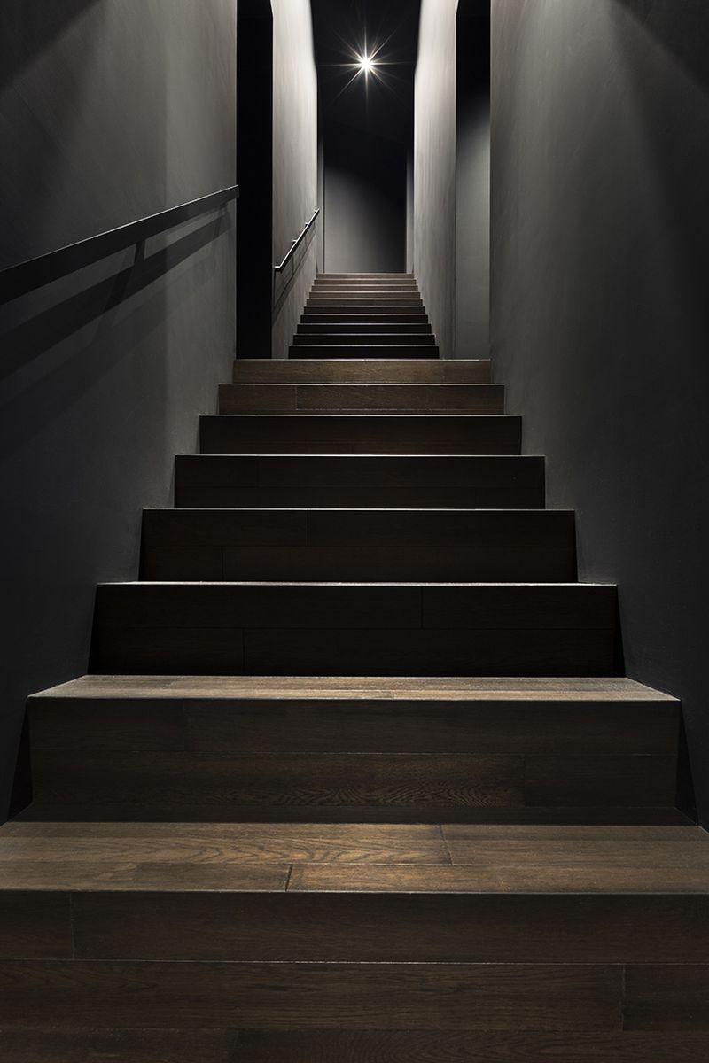 Interior staircase painted black