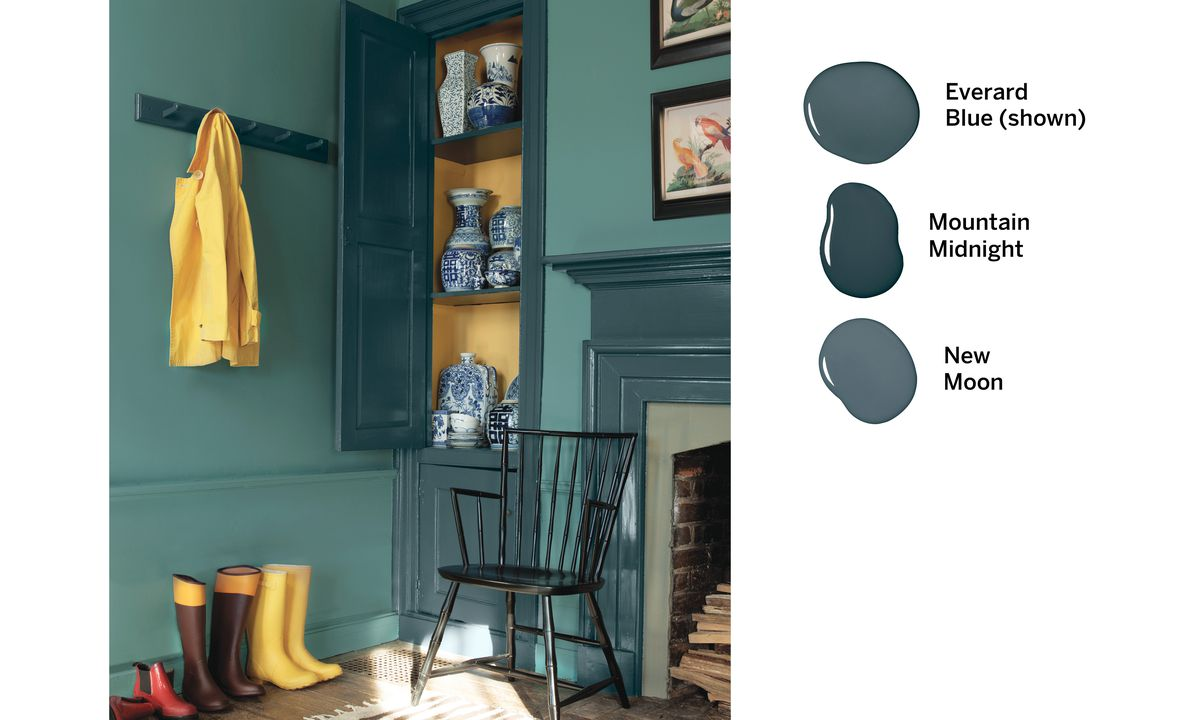 mudroom, labeled paint daubs, Paints with a past, Sep/Oct 2020