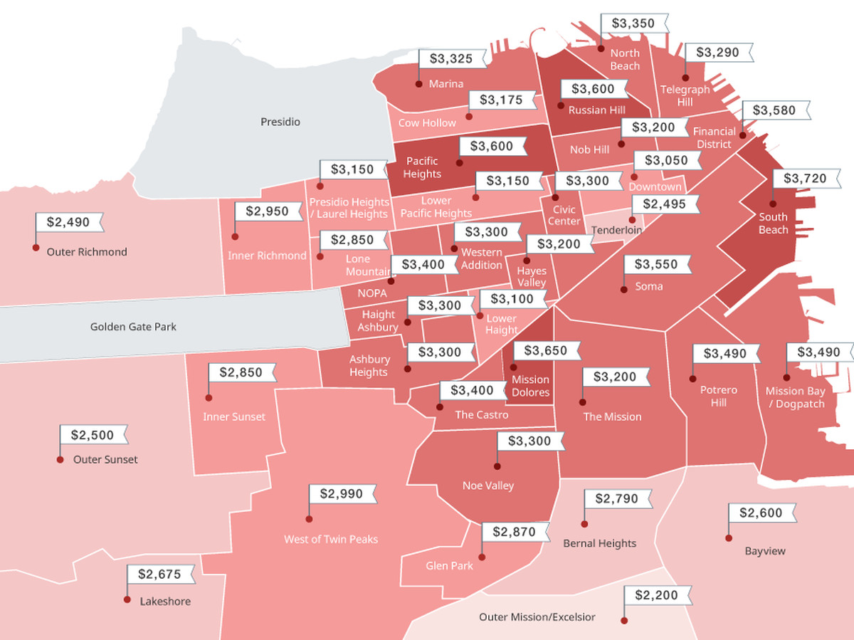 Map median one bed rents across san francisco - 2 bedroom apartments san diego craigslist ...