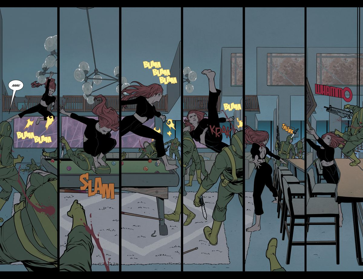 Black Widow destroys hechman after henchman across six vertical panels on a double page spread, swinging from a chandelier, leaping from a pool table, slamming a bar chair across a goon's face with a WHAMMO, in Black Widow #4, Marvel Comics (2020).